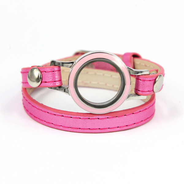 New Fashion (5pcs) Candy Color Pink Leather Wrap Locket Bracelet for Women Best gift for Gril