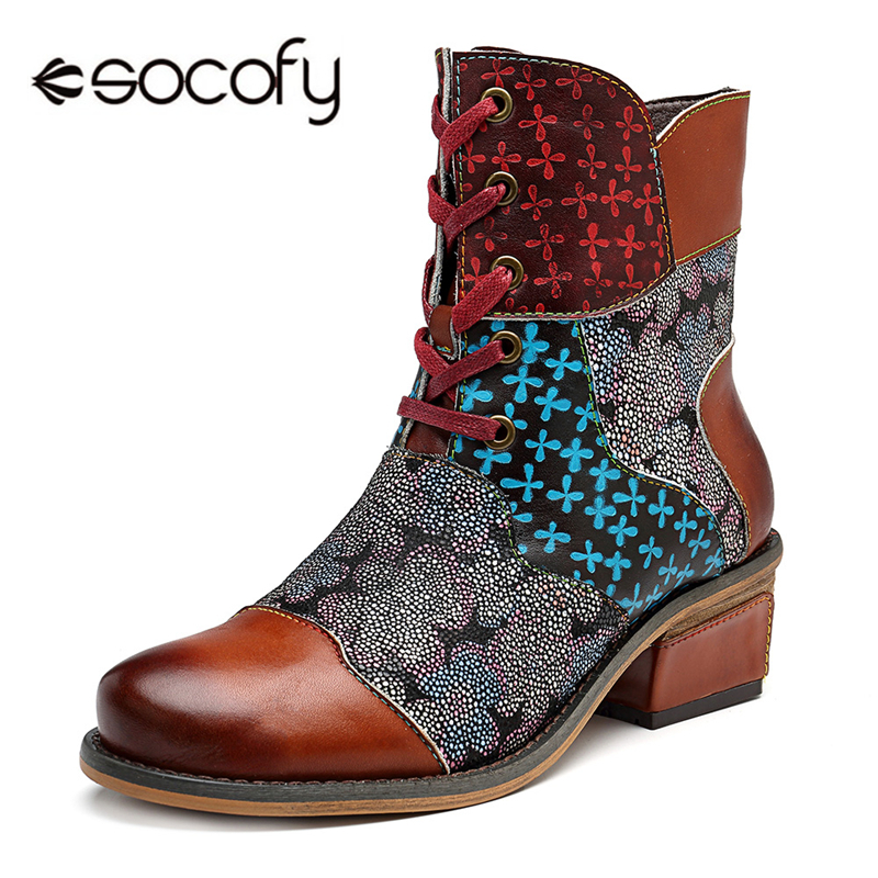 Socofy Retro Western Cowboy Ankle Boots For Women Shoes Woman Patchwork Genuine Leather Block Heel Knight Winter Boots Botas New 2018 new tassels punk womens ankle botas retro pointed toe shoes comfort block med heel chelsea boots real leather knight boots