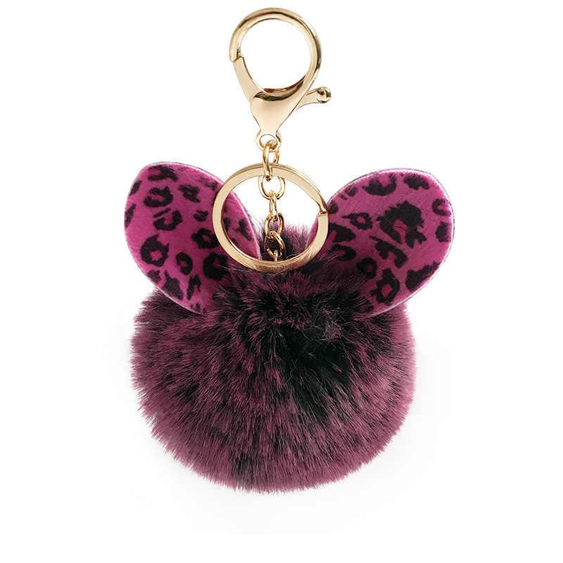 Cute Fur Ball Fox Gantungan Kunci Pom Pom Gantungan Kunci Dompet Tas Tangan Fluffy Gantungan Kunci Tas Mobil Gantungan Kunci Porte Clef llaveros untuk Anak Perempuan