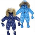 EN VENTAS!-30 Grados Naturaleza de piel de Bebé Recién Nacido Ropa de Invierno de Los Mamelucos Ropa Infantil Abajo de Algodón traje para la Nieve de Los Bebés Monos