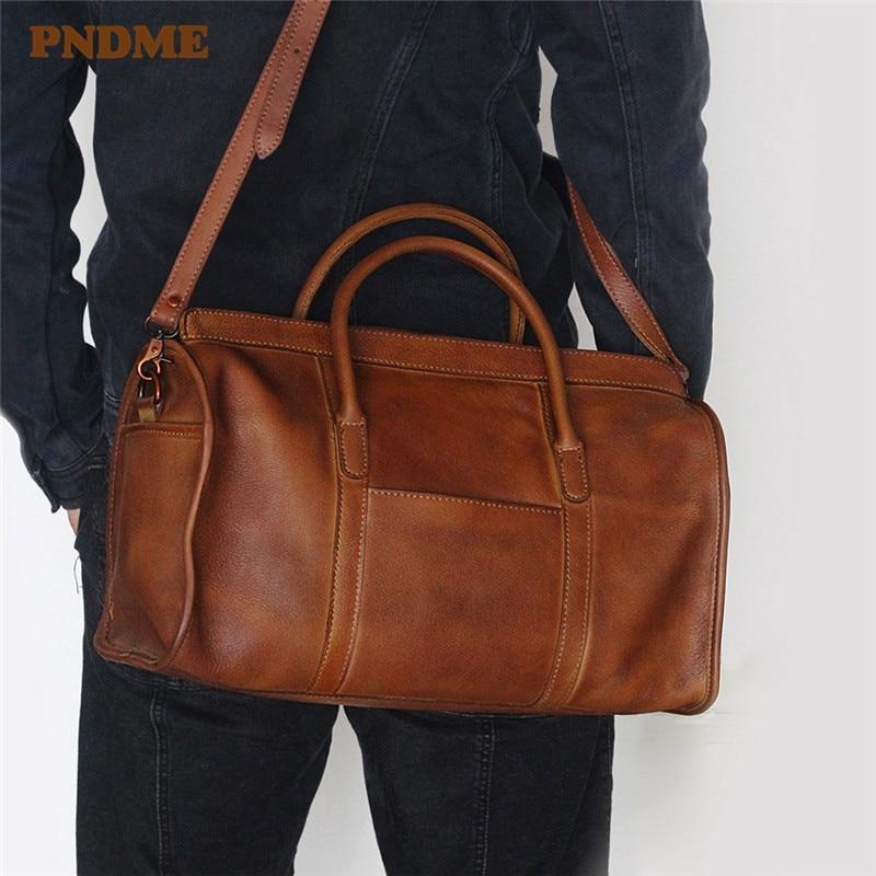 PNDME Vintage Genuine Leather Men Women Travel Bag Simple Soft Cowhide Handbag Luggage Bag Shoulder Crossbody Bags Duffle Bag