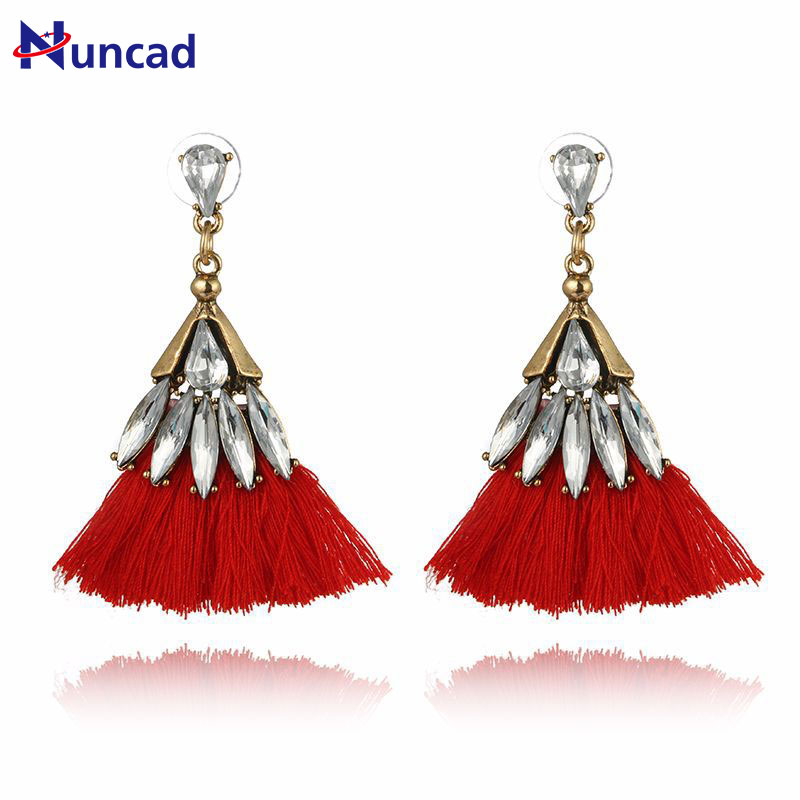 2017 New Bohemia Crystal Silk Tassel Earrings Blue Red Long Drop tassel Dangle Earrings Women Trendy Jewelery
