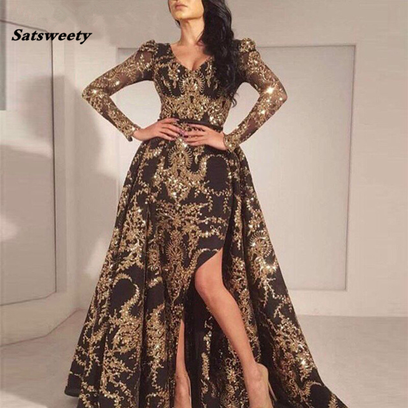 Luxury Black Gold Glitter Mermaid Long Sleeves Evening Dress 2020 Saudi Arabia Dubai Moroccan Sexy Formal Prom Party Gowns