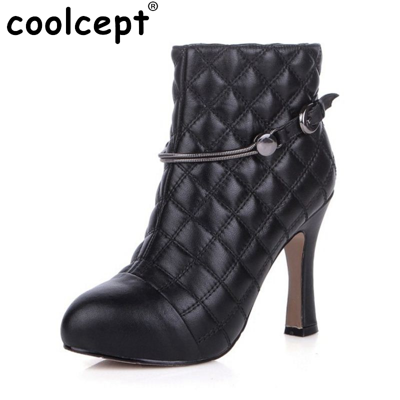 Woman Genuine Leather Round Toe Ankle Boots Women Sexy High Heel Zipper Botas Fashion Buckle Heels Shoes Size 34-39