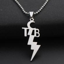 TCB Elvis Presley Stainless Steel Necklace Music Superstar Alphabet Initial Letter Lightning Thunder Bolt Necklaces