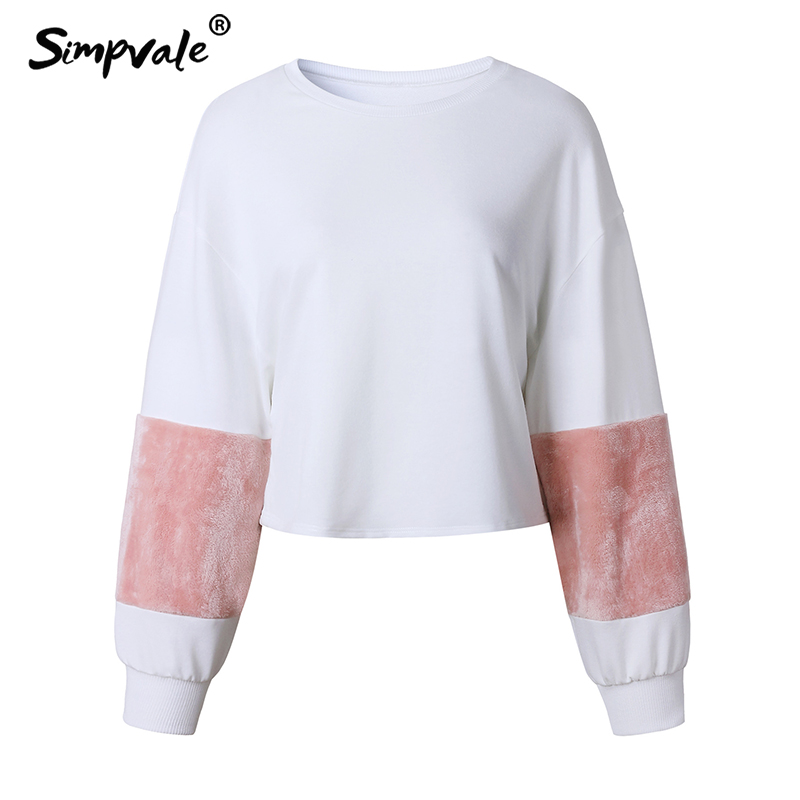 Simpvale плюшевые в стиле пэчворк с короткими Пальто для будущих мам Для женщин розовый пух Фонари с круглым вырезом Пуловеры для женщин женски...