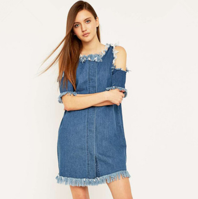 Plus size strapless denim dress