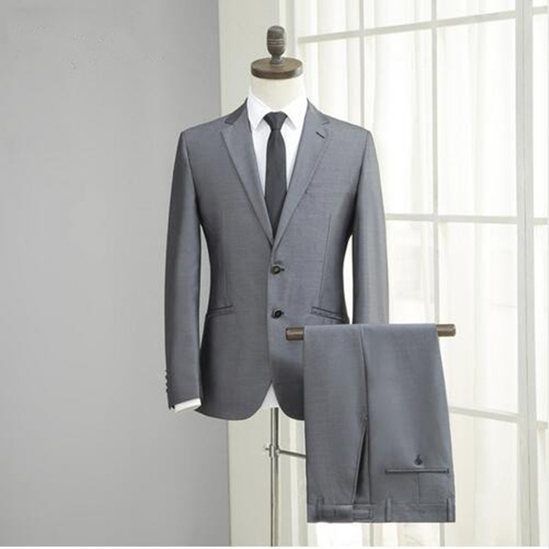 High Quality Grey Mens Business Suit Wedding Suits For Men Custom Made Groomsmen Wedding Tuxedos (jacket+pant)