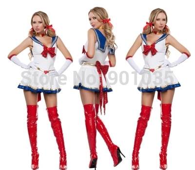 FREE SHIPPING DD80769 Sexy Sailor Girl Fancy Dress Ladies Nautical Navy Military Womens Adult Costume