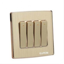 Wall Switch Socket Magnesium Aluminum Brushed Champagne Gold Panel 4 Gang 2 Way Switch, AC 220-250 10A
