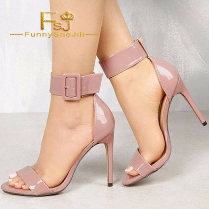 Pink Ankle Strap Open Toe Chunky Heel Sandals Summer Carnival Incomparable Attractive Fashion Generous Noble Fsj Elegant Sexy Heels Shoes