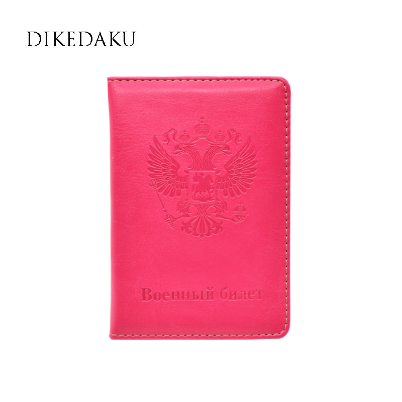 DIKEDAKU Fashion Designer Russia Women Passport Cover Pink Russia Emblem on The Passport for Men Cute Soft Leather Cards Holder