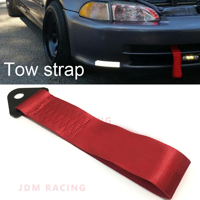 Racing Tow Straps Black for Recovery JDM Drift Track Rally Car