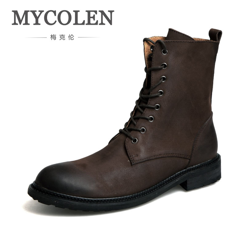 все цены на MYCOLEN Winter Military Boots Men High Quality Men'S Luxury Brand Top Fashion Work Shoes Leather Snow Boots Men Lace-Up Boots онлайн