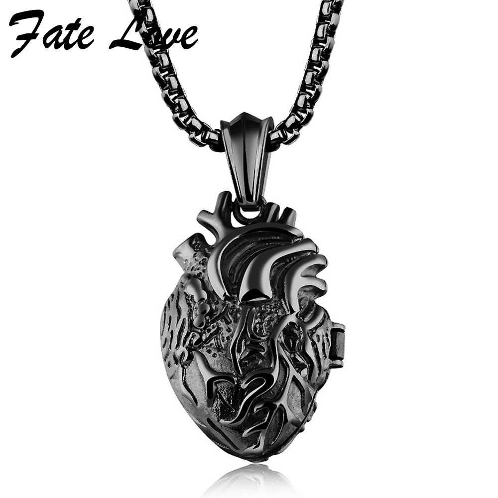 Heart Pendant Necklace Men Jewelry Colar Masculino Punk Style Stainless Steel Chain Necklaces Mens Jewellery Brand Fashion Gift