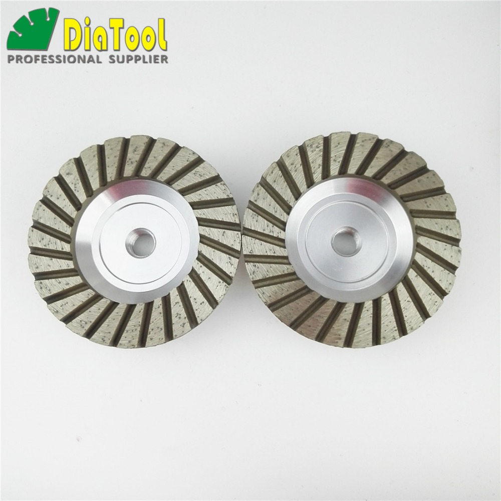 DIATOOL 2PK 4inch 30 Aluminum Based Diamond Grinding Cup Wheel with M14 Thread for Granite Concrete