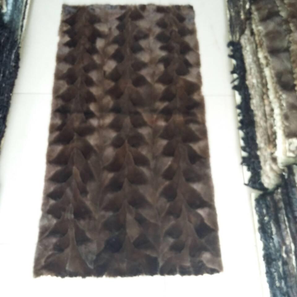 Vison brut avant jambe plaque de fourrure véritable vison couverture de fourrure tapis de fourrure marron