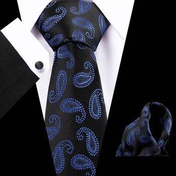 Joy Alice Wedding men neck ties  brand luxury necktie pocket square silk tie set cufflinks handkerchief