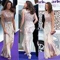 Hot Sale Sheer Neckline Tulle Beads Formal Gowns Floor-Length Kate Middleton Dress Celebrity Dresses