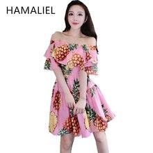 2017 designer summer женщины dress взлетно-посадочной полосы печати ананас с плеча дамы оборками slash шеи партия mini dress