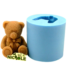 Nicole LZ0005 Flexible Easy Unmold 3D Cute Bear Silicone Animal Candle Soap Molds Decorative Resin,Clay Crafts Moulds