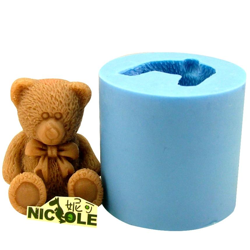 सिलिकॉन साबुन मोल्ड 3 डी प्यारा बीयर हस्तनिर्मित मोमबत्ती चॉकलेट कैंडी Molds राल क्ले क्राफ्ट बनाता है