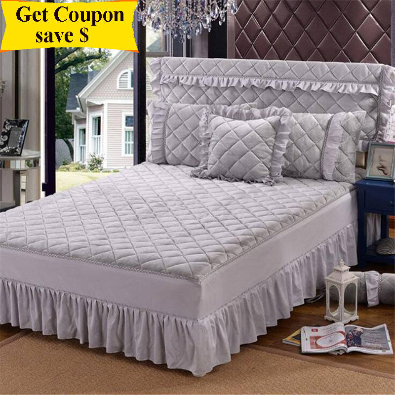 1.2/1.5m/1.8m/2.0m 3pcs pure color bed spread crystal velvet bedskirt set thicken bedspreads and pillowcase quality bed cover