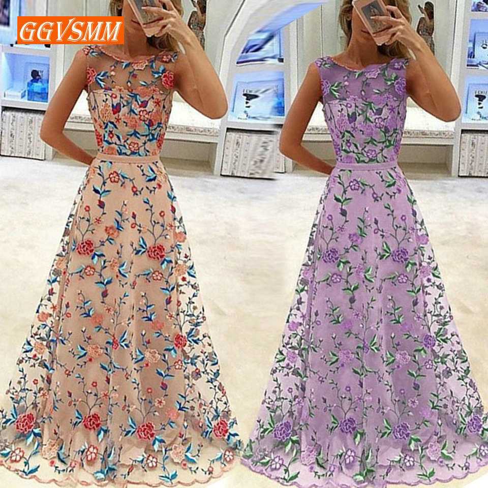 Fashion Pink Long   Prom     Dresses   2019 Sexy Purple   Prom     Dress   Women Scoop Embroidery Zipper A-L;ine Cheap Evening Club Party Gowns
