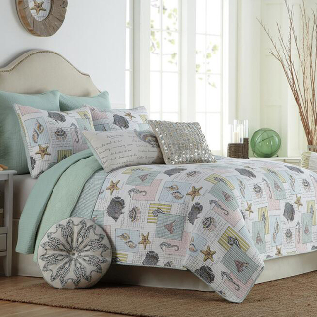 MILAIYA American Style Print Quilted Bedding Sets Sea World Summer Air  Conditioning Quilt Plain Quilt Coverlet