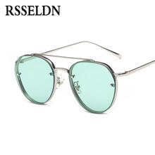RSSELDN New Clear Lens Round Women Fashion Sunglasses Men Vintage Brand Designer Double Beam Sun Glasses Ladies Female 2017