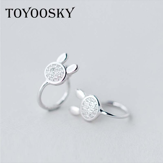 925 Sterling Silver Crystal Small Rabbit Ear Clip On Earrings Without Piercing For Women