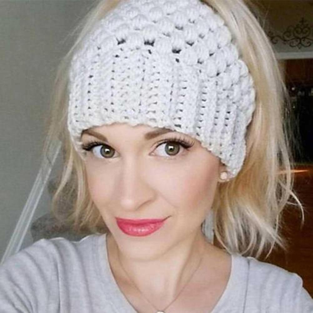 Solid Color Knitted Women Ponytail Beanie Cap Elastic Winter Warm Winter Hat