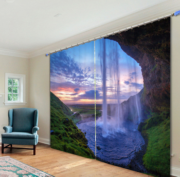 3D Inside of The Waterfall Printing Curtains for Living Room Office Drapes Cotinas Para Sala Sunshade Curtain Customize Size