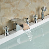 Crystal Style Waterfall Brass Bathroom Bath Tub Faucet Mixer Tap With Hand Shower Chrome Finish