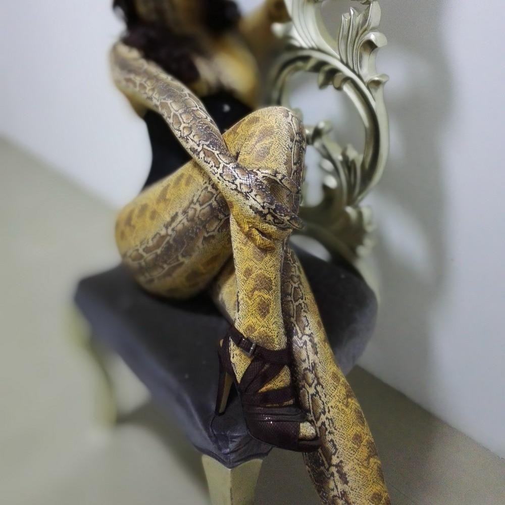 Costume de peau de collants de serpent de dastarcus jaune frais personnalisé costume de fétiche de combinaison de zentai