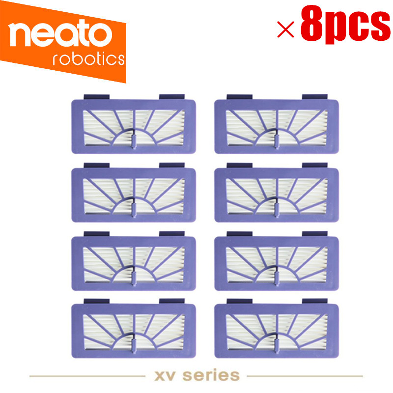 8PCS/lot HEPA Filter Replacement for Neato Cleaner XV-11, XV-21, XV-15, XV-12 XV-14 High Quality neato spiral blade brush 6 piece brush blade and 1piece squeegee replacement pack xv 11 xv 12 xv 14 xv 15 xv 21