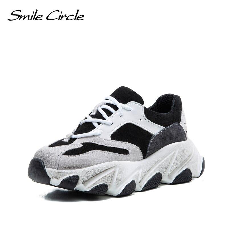Echtem Frauen Turnschuhe grau Leder Flach Kreis Schuhe Damen Plattform Outdoor Schwarzes 2019 Frühling Boden Lächeln Dicken Komfortable wgxBI5