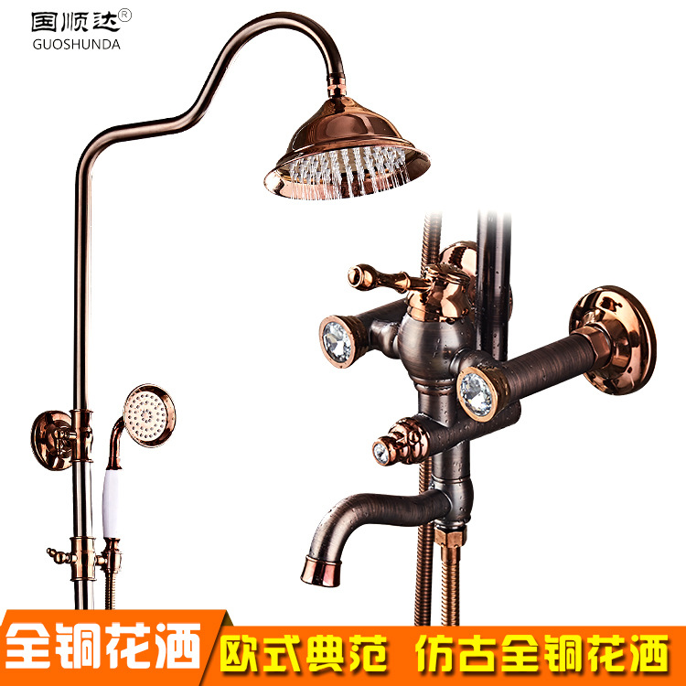 Shower Faucets Luxury Rose Gold Shower Sets Antique Lifting Single Handle 8 Rainfall Shower Mixer Tap with Crystal AD 1893