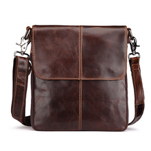 The first layer of leather-based Leather Mens shoulder diagonal cross part vertical doc postman paraffin oil free delivery