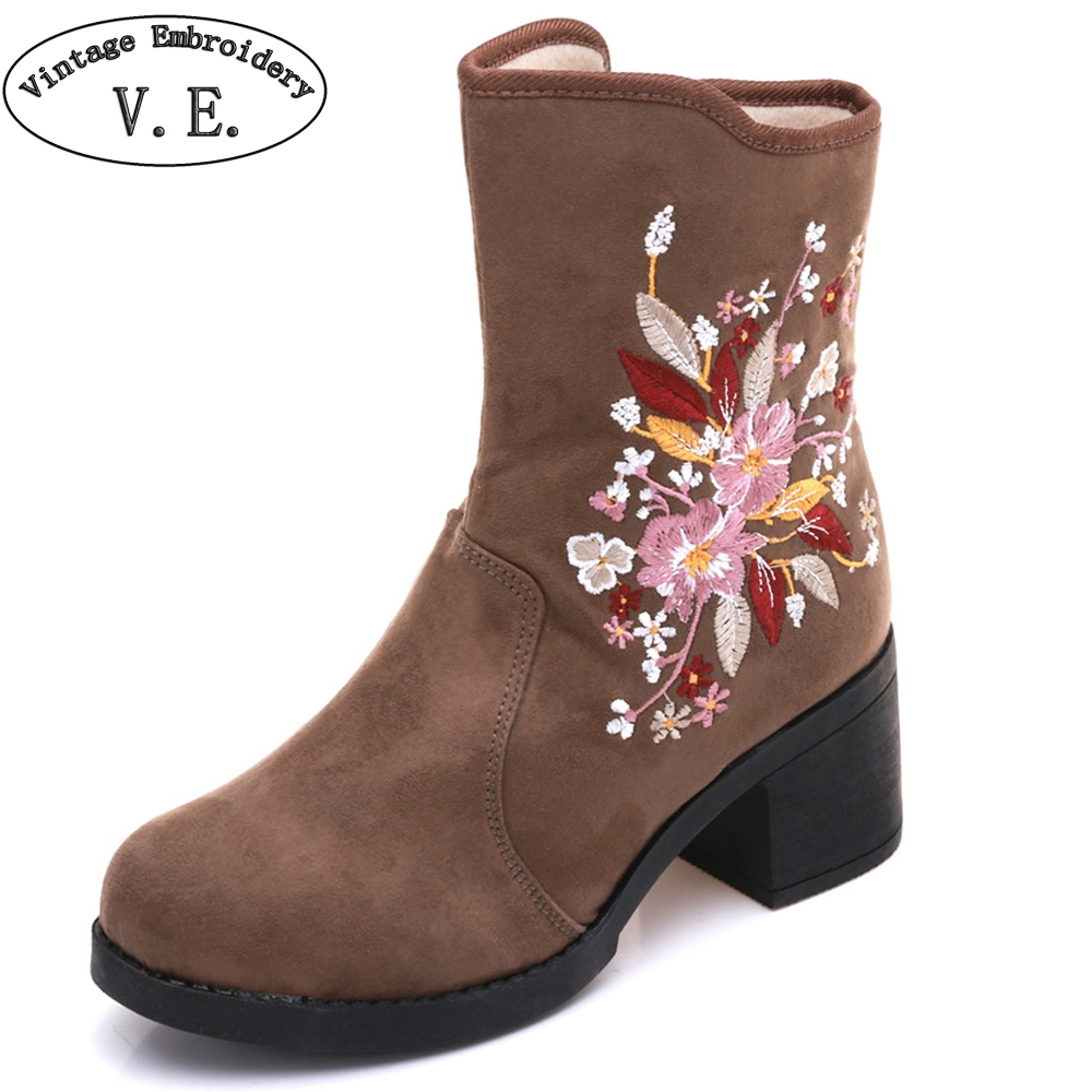 Vintage Winter Women Boots Floral Embroidered Ladies Short Ankle Boots Zipper Warm Black Booties Botas Mujer Plus Size 41 plus size floral embroidered v neck dress