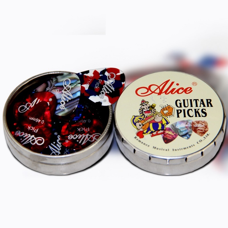 12pcs Alice Acoustic Electric Guitar Picks Plectrums And1 Round Metal Picks Box Case Free Shipping