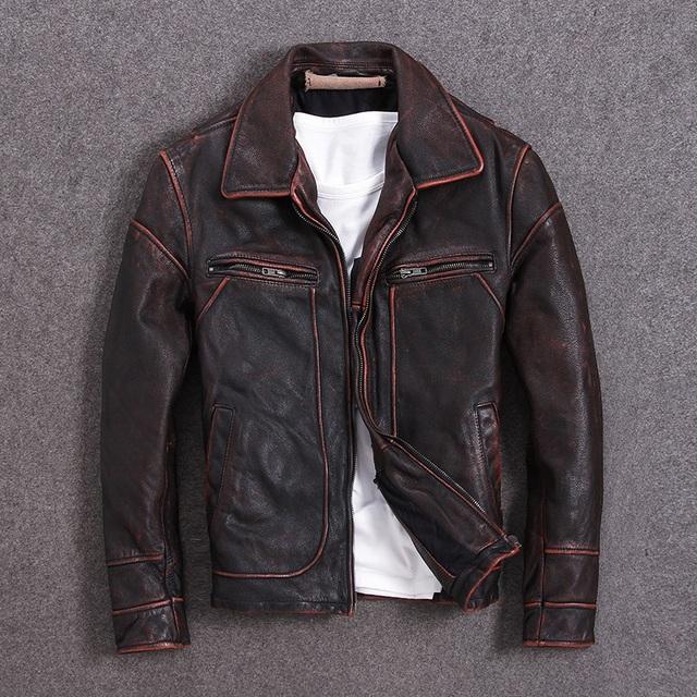 bc1a3288 asiatisk pluss størrelsen ekte skinnjakke, menn vintage brun kuskinn pels,  høy kvalitet slank motor ...