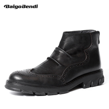 Men Genuine Leather Zip Height Increase Ankle Boots Man Wingtips Fold Thick Heel Boots Winter Pleated Brogue Shoes women autumn winter wedges chunky heel height increase elevator genuine leather buckle zip fashion ankle boots 34 39 sxq0724