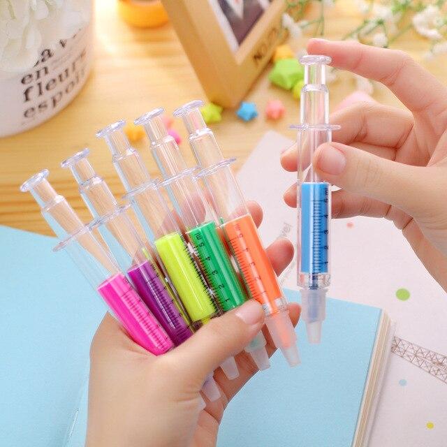 6 pièces Mini seringue créative en plastique Gel surligneur stylo bonbons couleurs aiguille marqueur bureau école enfant crayon fournitures de papeterie