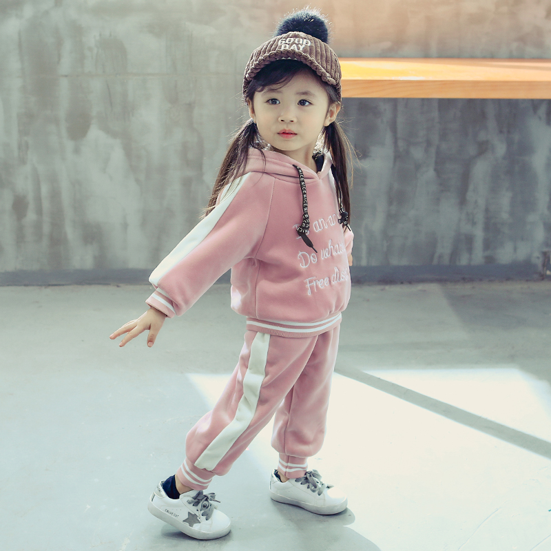 Casual Baby Girl Boy Warm Clothing Set For Toddler Kids Suit Letter Hooded Velvet Autumn Spring Children Outfit 1 2 3 4 5 Years 6