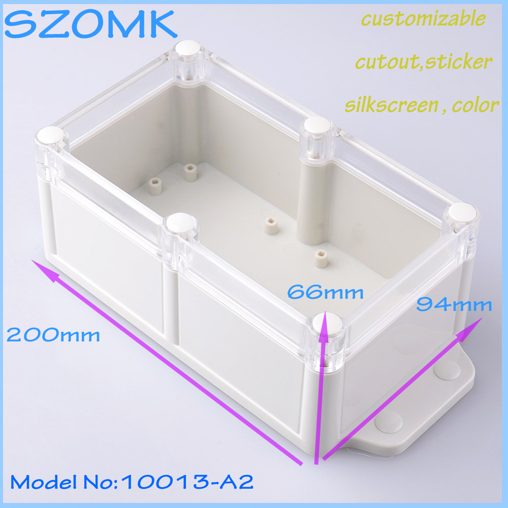 1 piece free shipping plastic box electronics waterproof box project box for electronics 200X94X66 mm  weatherproof plastic 1 piece free shipping small aluminium project box enclosures for electronics case housing 12 2x63mm