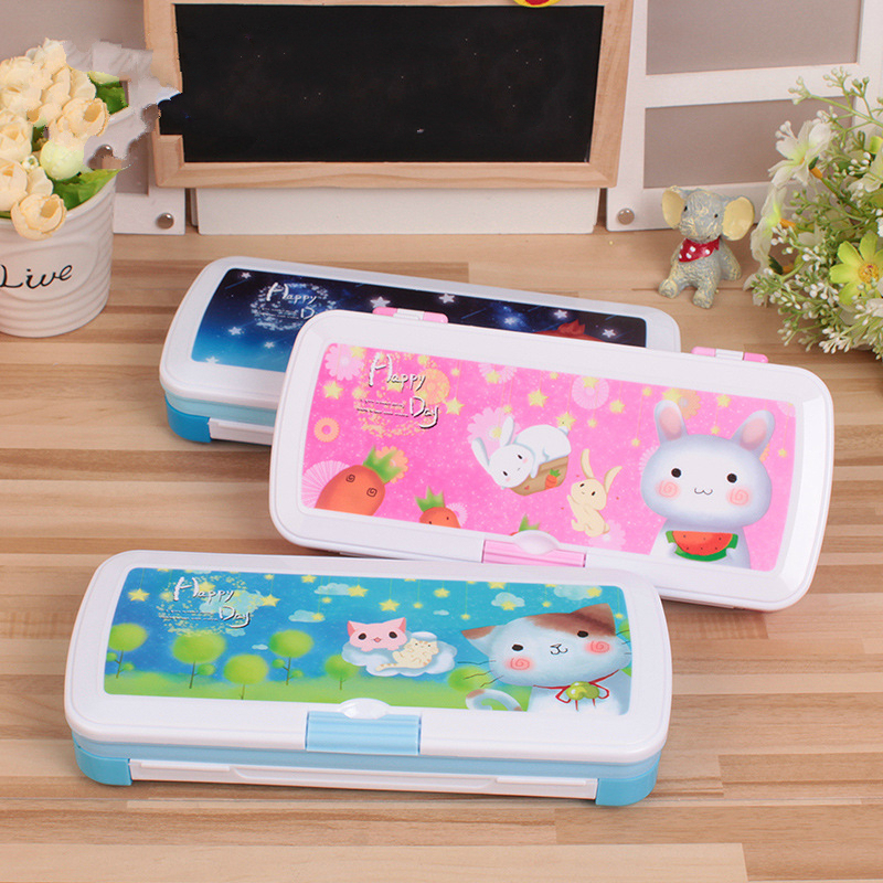 Children's Creative Multi-purpose Whiteboard Plastic Primary School Stationery Box Kindergarten Boy Girl Pencil Case m&g stationery set primary school pupil intelligence box multifunctional kindergarten teaching aid prize