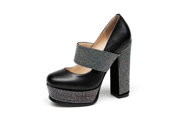 Plataforma Tacón Redondo Mujer Tacones Negro Moda Bombas Genuino Jane Cuero De Mary Zapatos Dedo Del Nueva Grueso {zorssar} Altos 2018 Pie T7nRv08xx
