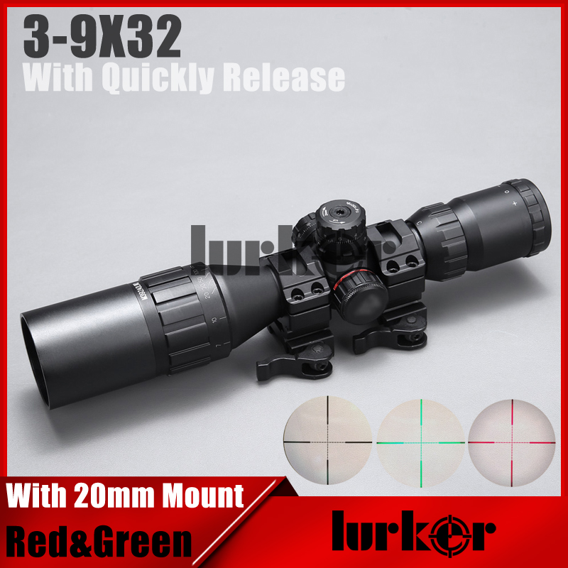 Tactial QD Release Rifle Scope 3-9x32 1MAOL Mil-dot Hunting riflescope With Sun Shade Tactical Optical Sight Tube Equipment tactial qd release rifle scope 3 9x32 1maol mil dot hunting riflescope with sun shade tactical optical sight tube equipment