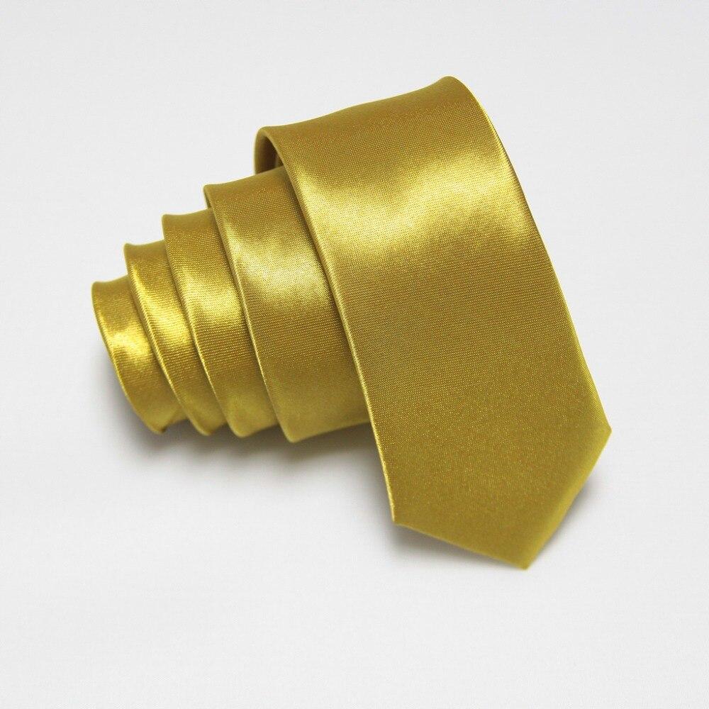 2019 Men Ties Skinny Tie Solid Color Gold